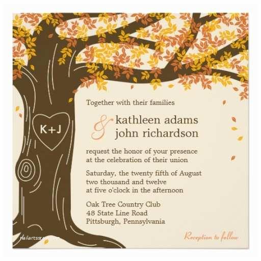Fall themed Wedding Shower Invitations Oak Tree Fall Wedding Invitation