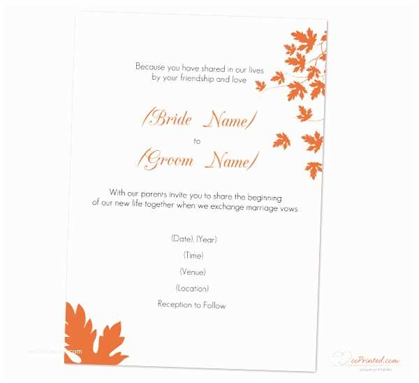 Fall Wedding Invitation Templates Autumn Wedding Invitations Template