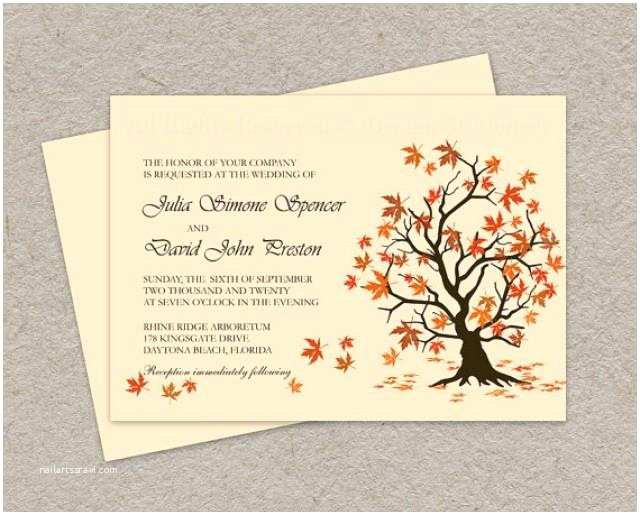 Fall Wedding Invitation Templates Diy Fall Wedding Invitation Printable Fall Leaves Wedding