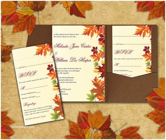 Fall Wedding Invitation Templates Diy Wedding Pocketfold Template Autumn Leaves Red orange
