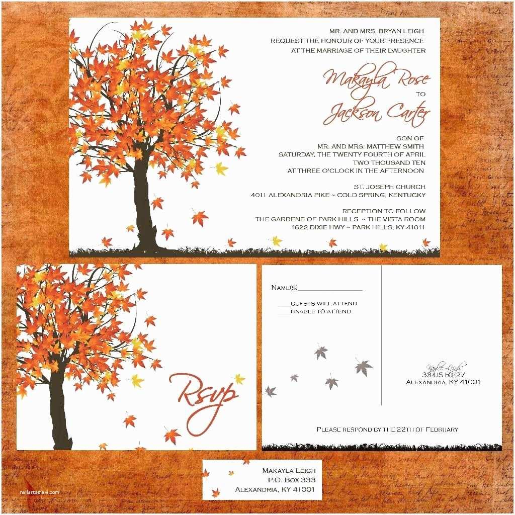 Fall Wedding Invitation Templates Fall Maple Tree Wedding Invitation Sample Packet Fall In
