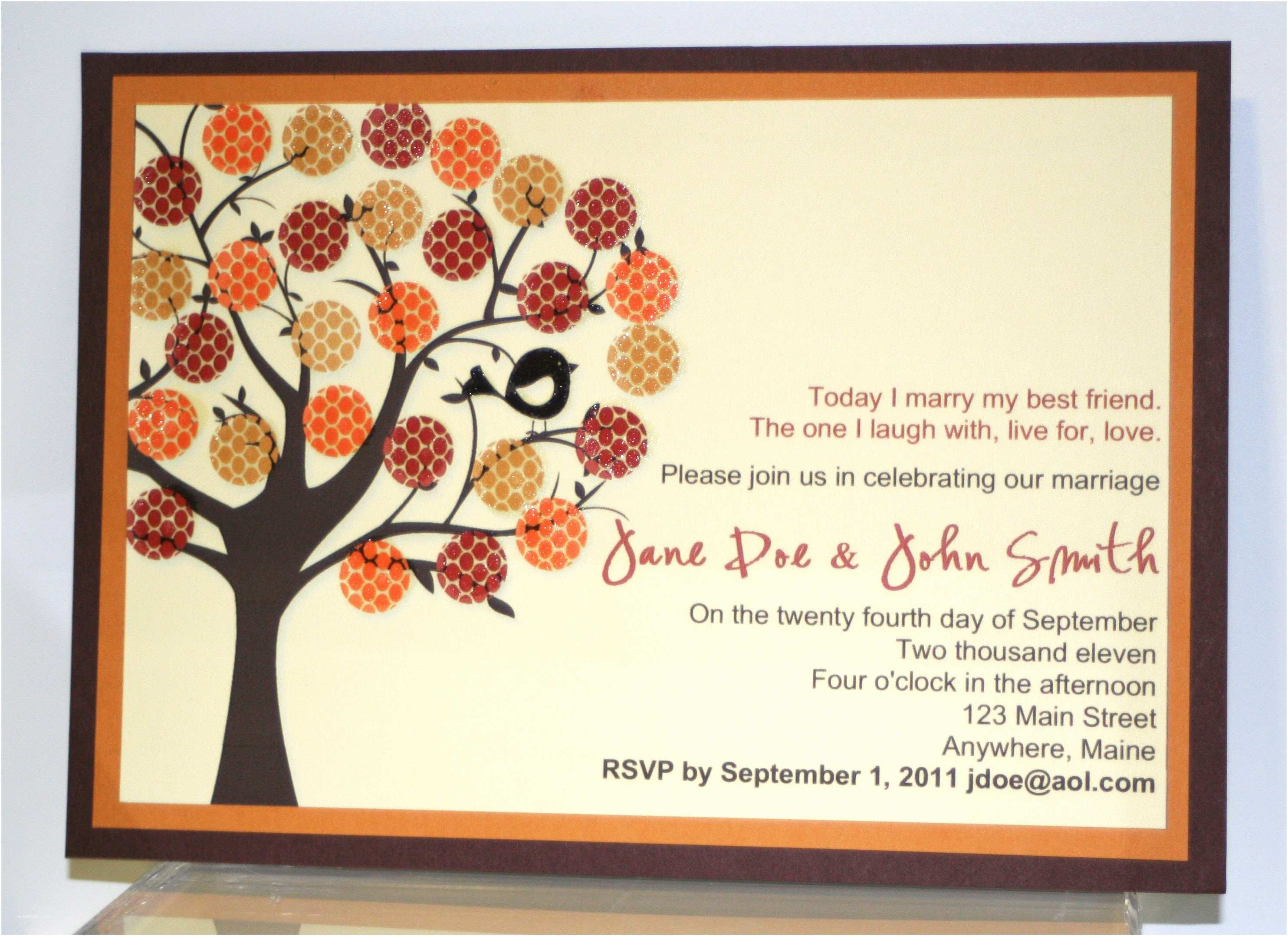 Fall Wedding Invitation Templates Fall Wedding Invitation Card