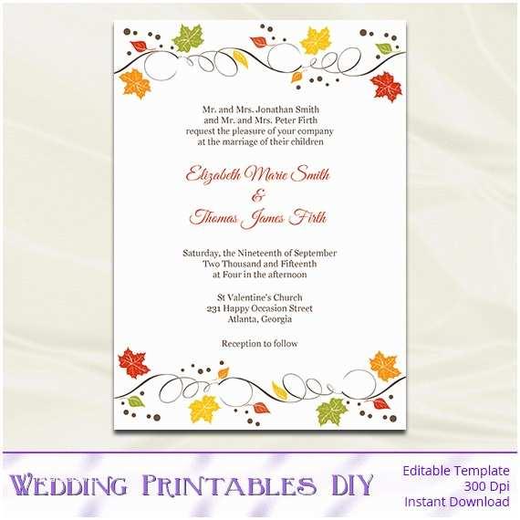 fall wedding invitations template diy