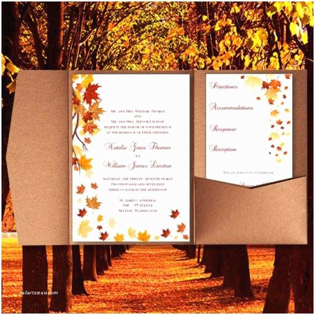 "Fall Wedding Invitation Templates Pocket Fold Wedding Invitations ""falling Leaves"" Fall"