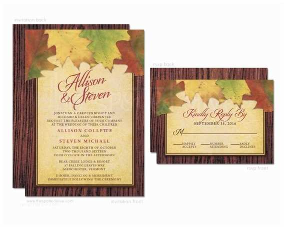 Fall Wedding Invitations and Rsvp Cards Autumn Leaves Wedding Invitations & Rsvp Cards Printed
