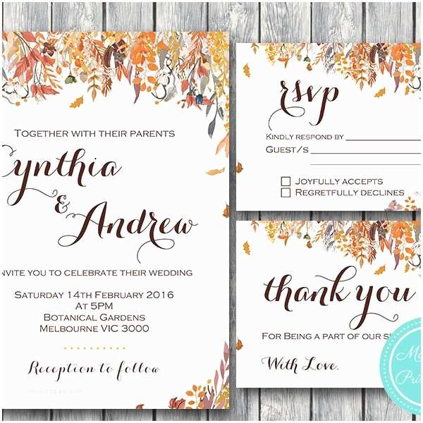 custom fall autumn wedding invitation rsvp thanks card