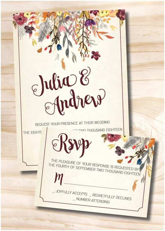 Fall Wedding Invitations and Rsvp Cards Fall Watercolor Floral Wedding Invitation Response Card