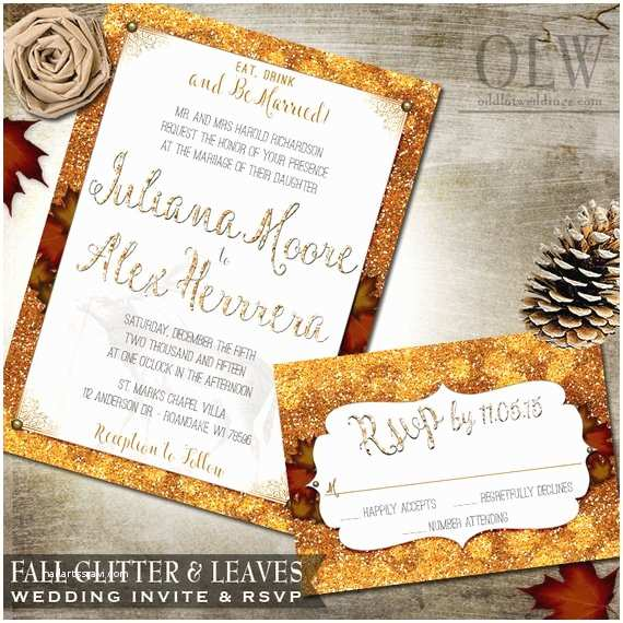 Fall Wedding Invitations and Rsvp Cards Fall Wedding Invite Rustic Fall Glitter and Leaves Rustic