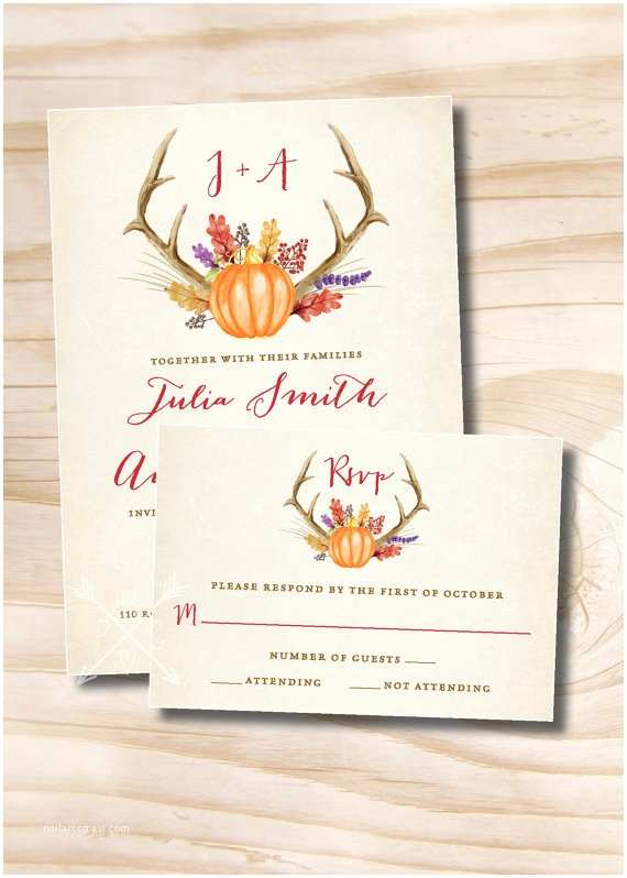 Fall Wedding Invitations and Rsvp Cards Rustic Fall Floral Antlers Pumpkin Wedding Invitation and