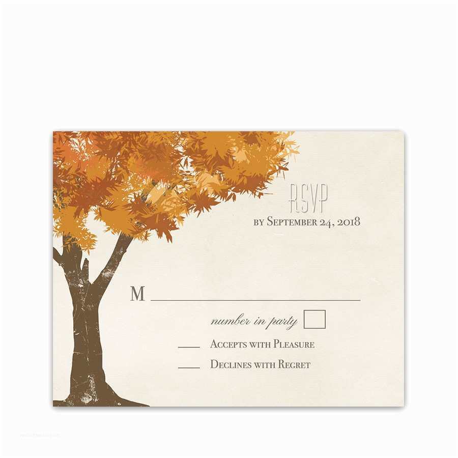 Fall Wedding Invitations and Rsvp Cards Rustic Fall Trees Golden Leaves Wedding Rsvp Cards