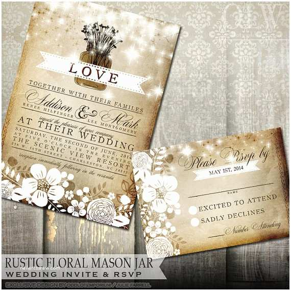 Fall Wedding Invitations and Rsvp Cards Rustic Mason Jar Wedding Invitation and Rsvp Card Fall