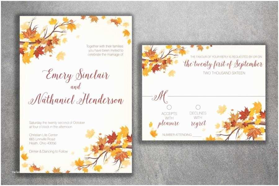Fall Wedding Invitations Autumn Wedding Invitation Set Fall Wedding Invitation