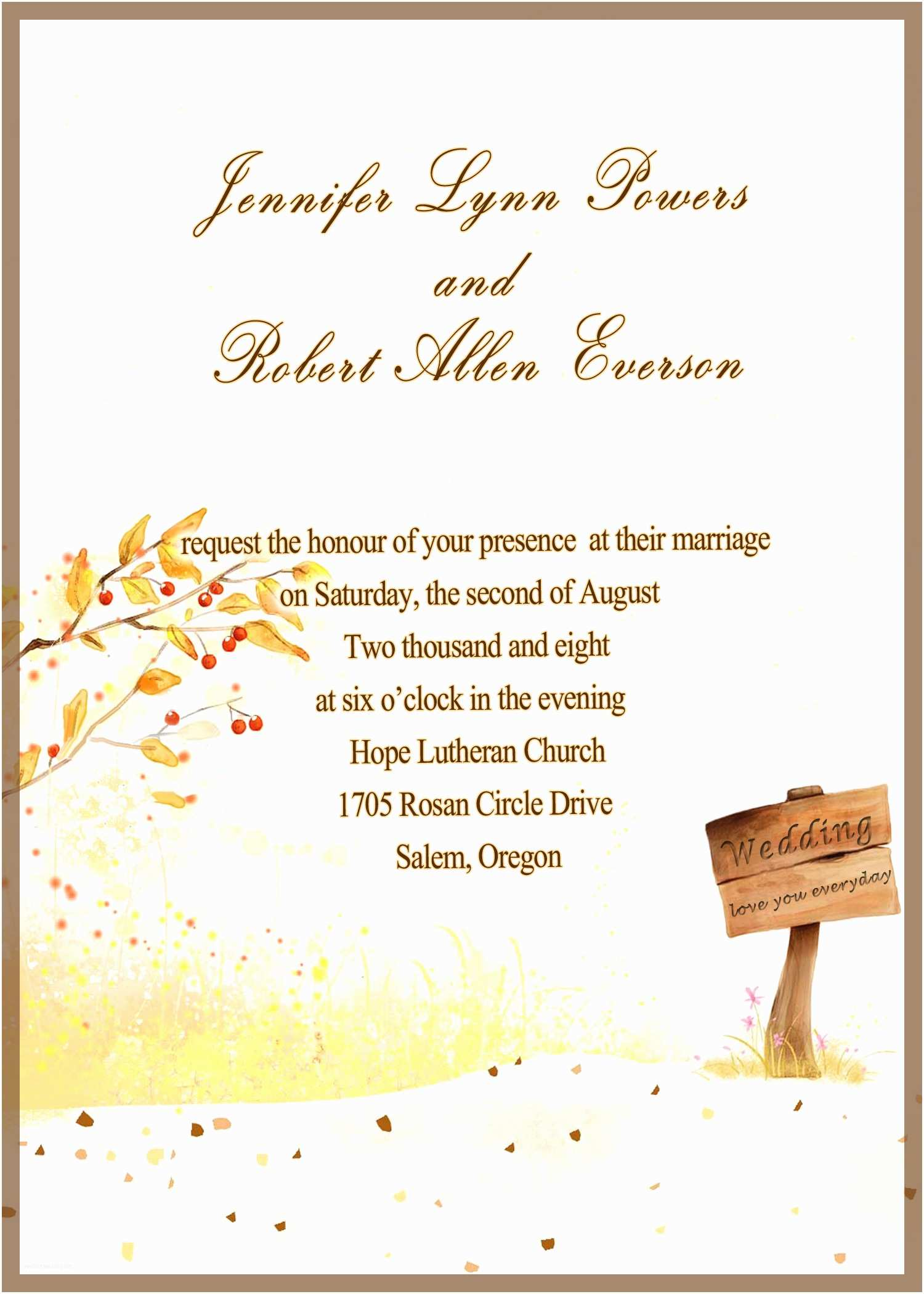 Fall Wedding Invitations Cheap Country Side Style Gold Rustic Fall Cheap Wedding