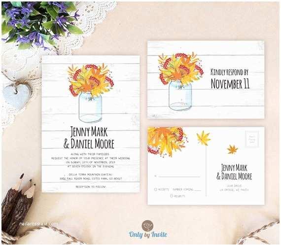 Fall Wedding Invitations Cheap Mason Jar Wedding Invitations and Response Cards by