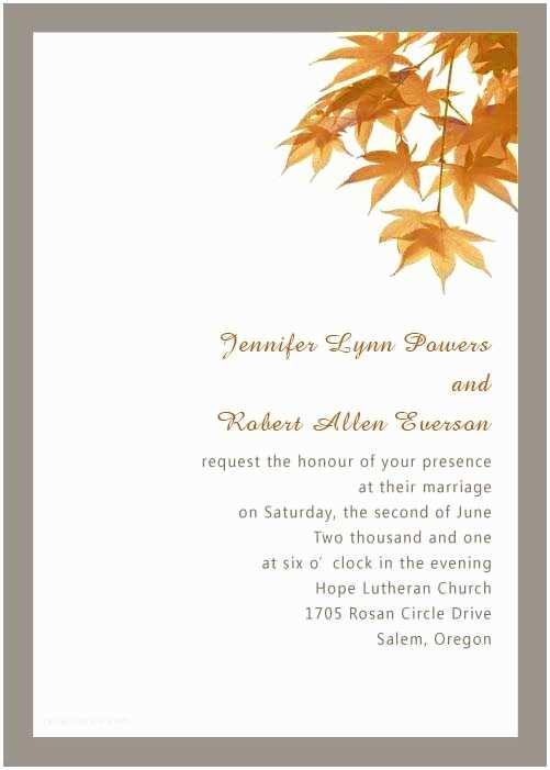 Fall Wedding Invitations Cheap orange Leaves Fall Wedding Invitations Ewi253 as Low as $0