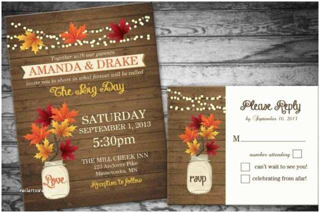 Fall Wedding Invitations Picture Stylish and Elegant Fall Wedding Invitations