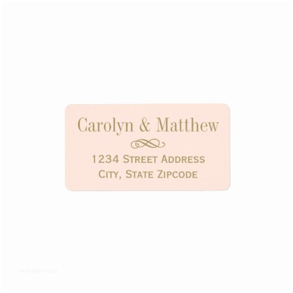 Fancy Address Labels for Wedding Invitations Elegant Flourish Gold Blush Pink Wedding Address Labels
