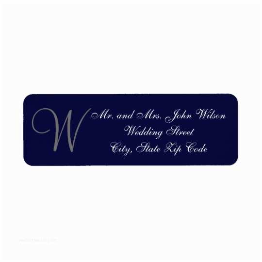 Fancy Address Labels for Wedding Invitations Elegant Navy Blue Gray Monogram Wedding Invitation Label