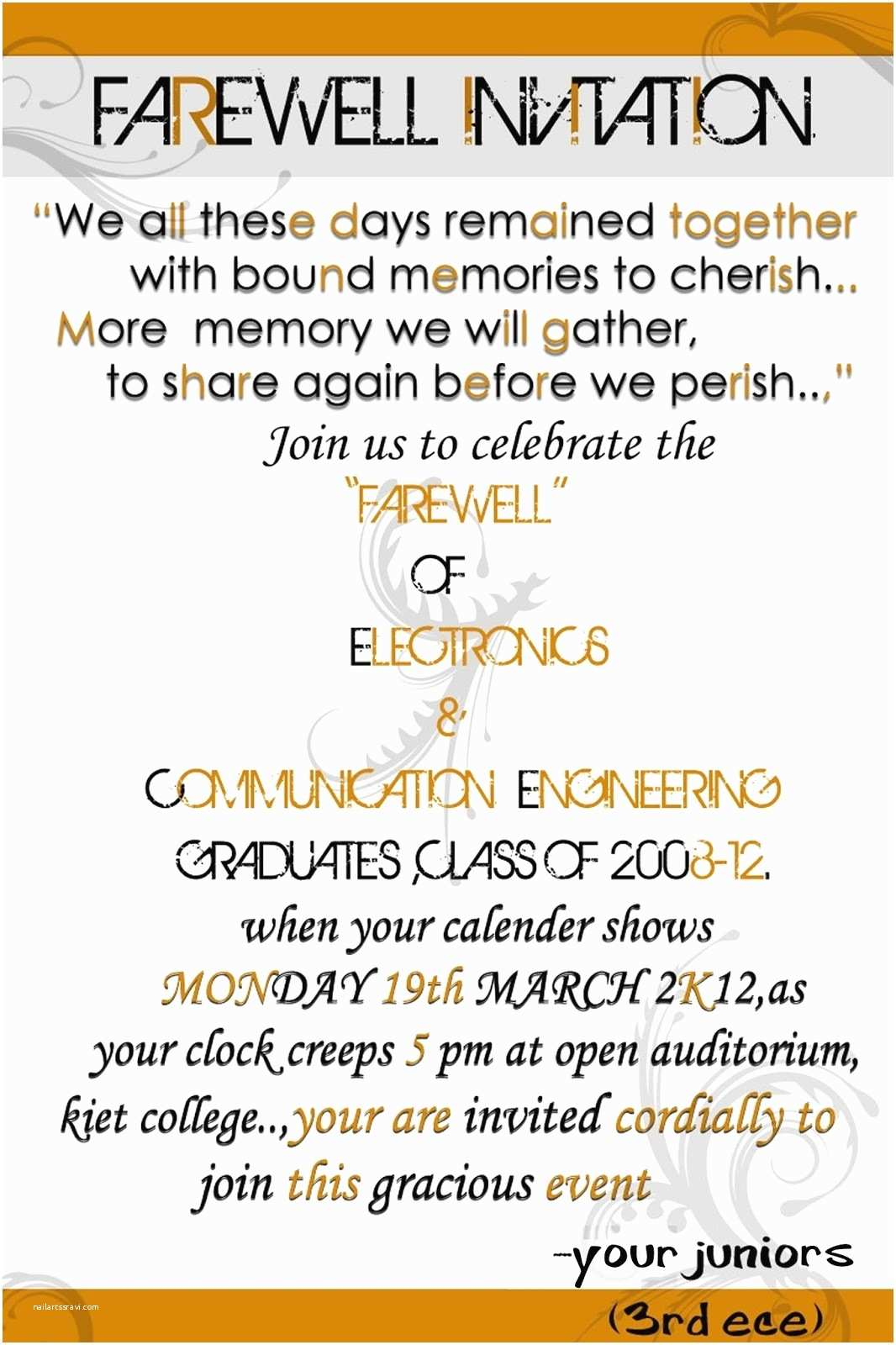 Farewell Party Invitation Wording Farewell Invitation for Students Cobypic