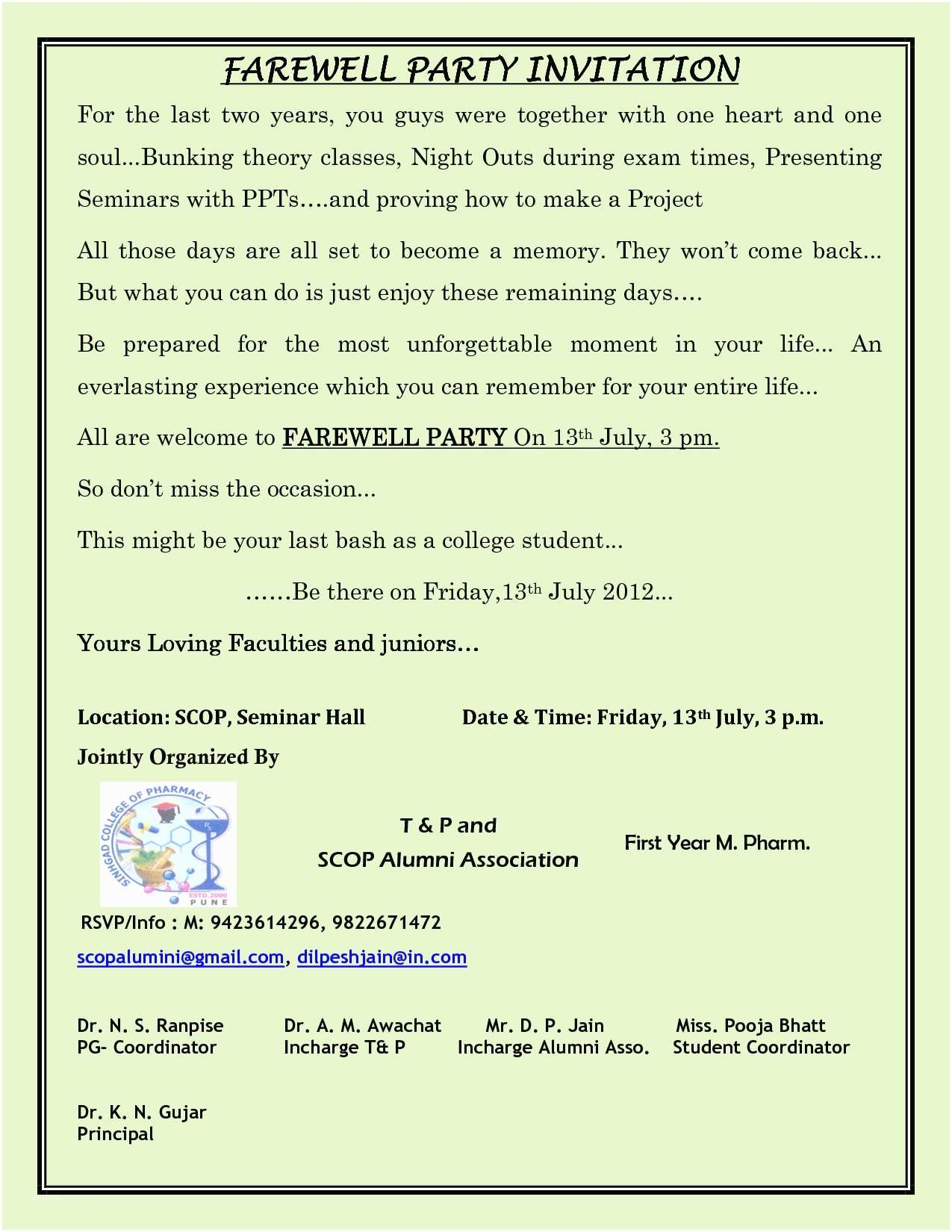 Farewell Party Invitation Wording for the Office Farewell Party Invitation Wording for the Office Jose