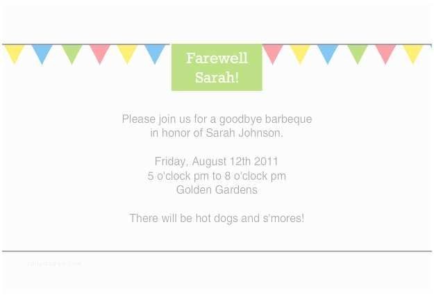 Farewell Party Invitation Wording Simple and Colorful Farewell Party Invitation Card with