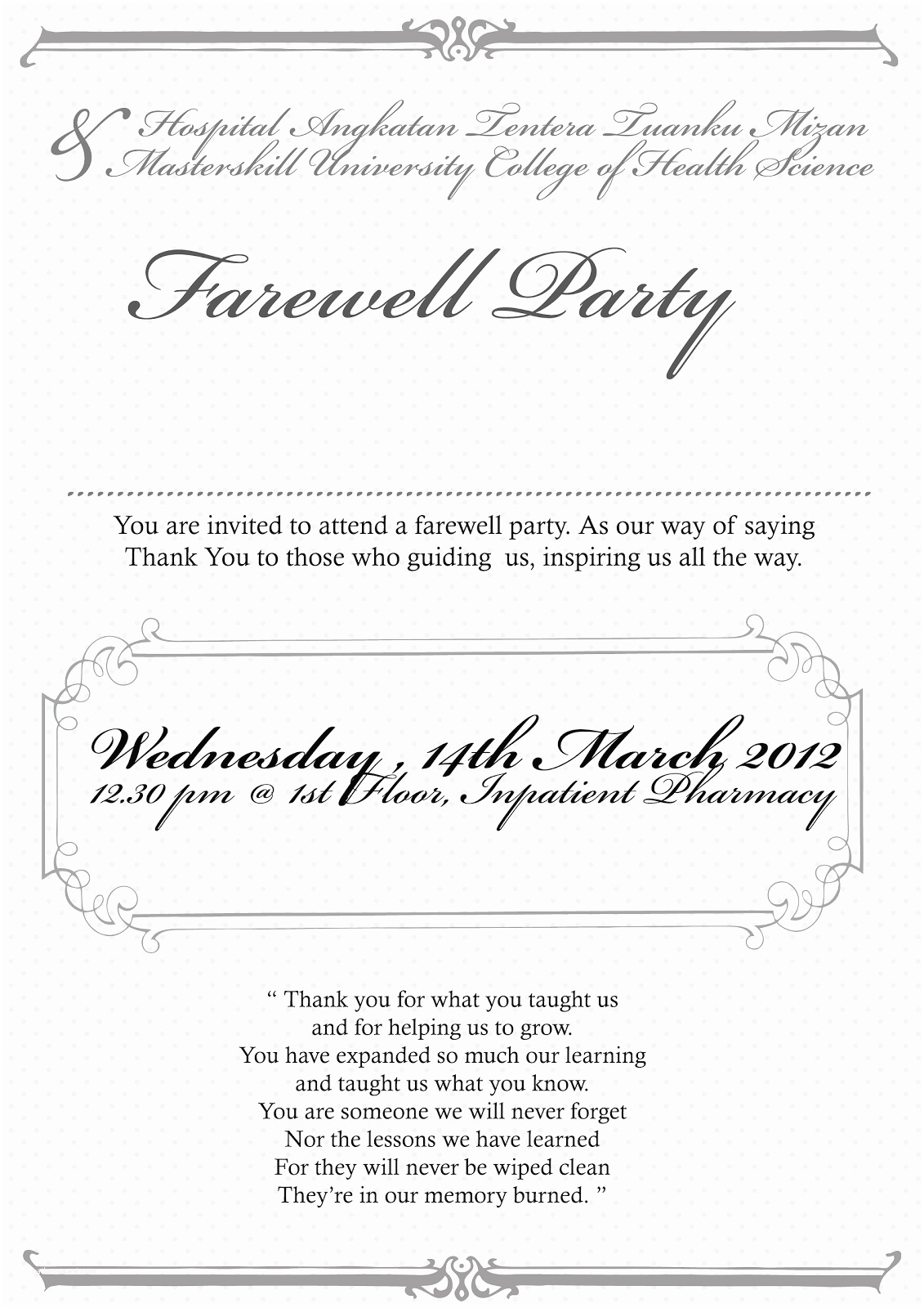 Farewell Party Invitation Wording thebigtree Invitation Card Farewell Party