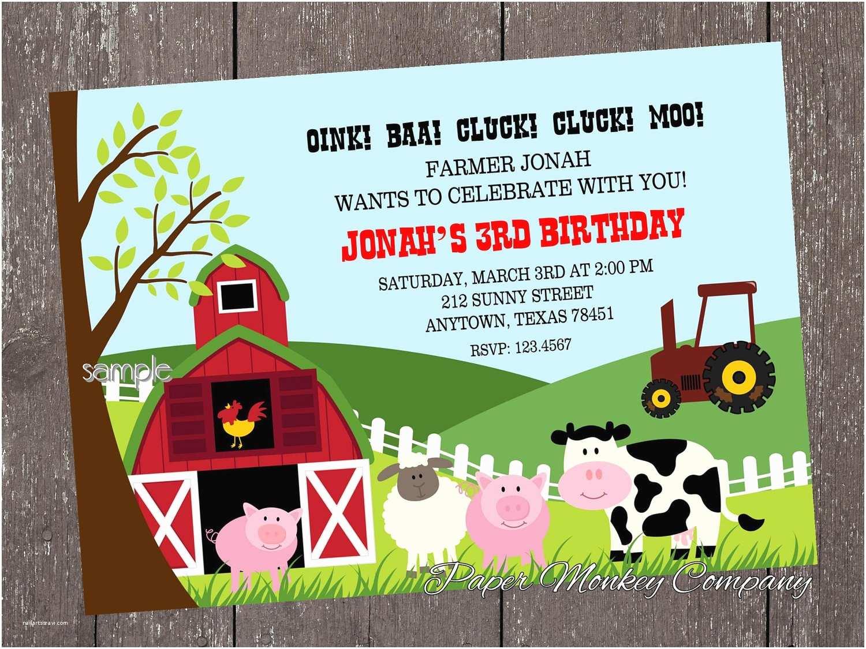 Farm Birthday Invitations Farm Birthday Invitation Barn Animals Pig Chicken