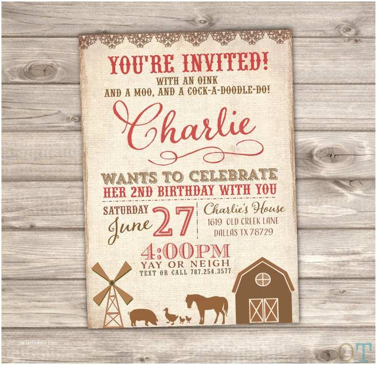 Farm Birthday Invitations Farm Birthday Printable Invitations Rustic the Farm Animals