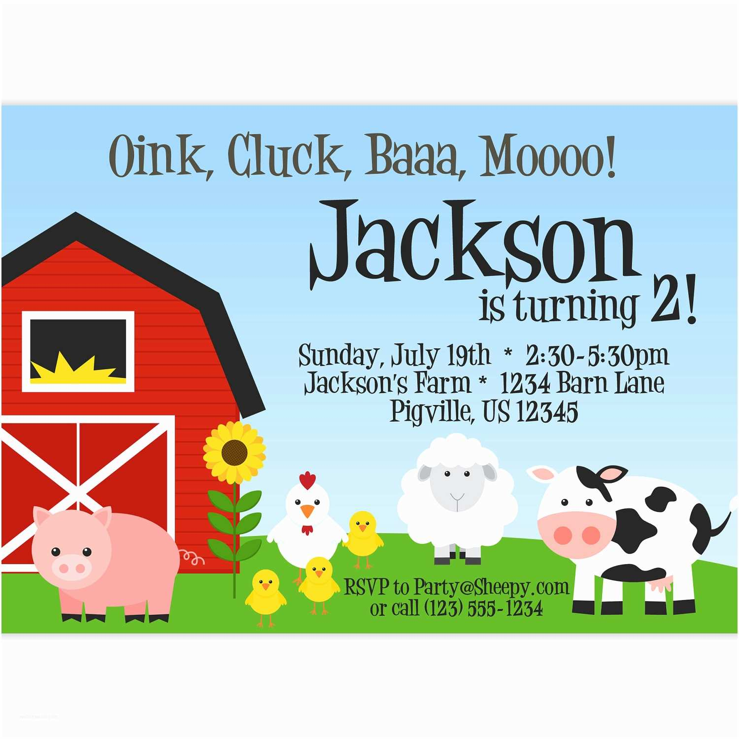 Farm Birthday Invitations Farm Invitation Red Barn Farm Animals Pig by Purpleberryink
