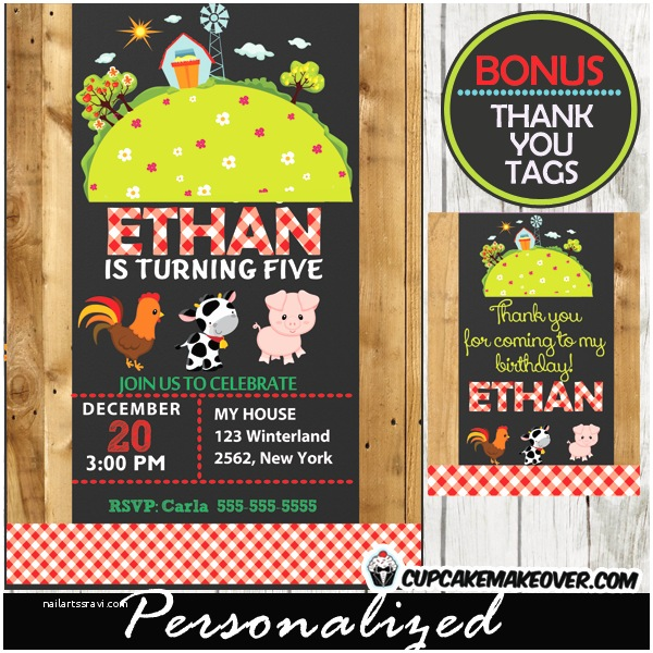 Farm Birthday Invitations Farm Party Animals Invitation for Girls Personalized D6