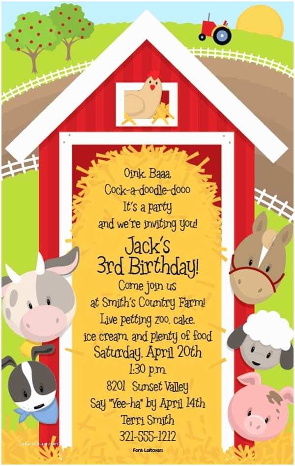 Farm Birthday Invitations Farm Party Invitations On Pinterest