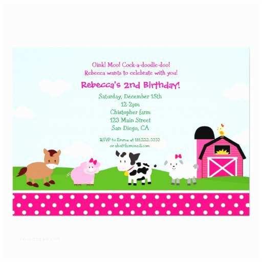 Farm Birthday Invitations Girl Farm Birthday Invitations