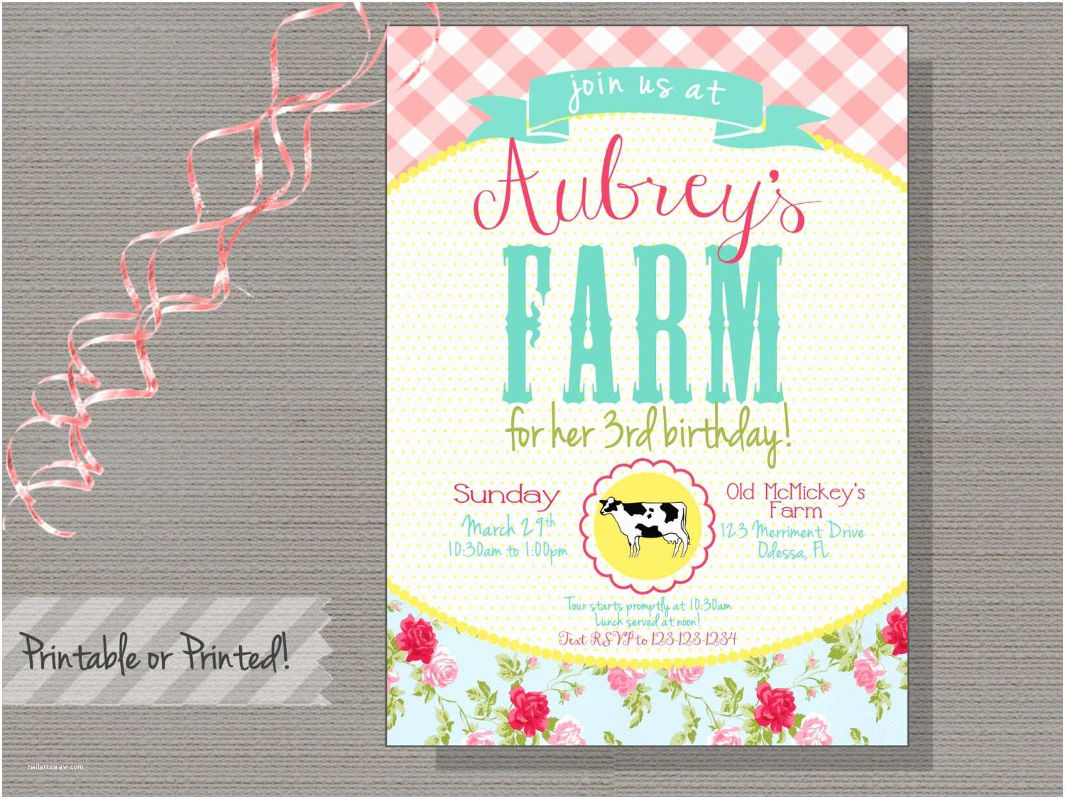 girls farm birthday invitation first