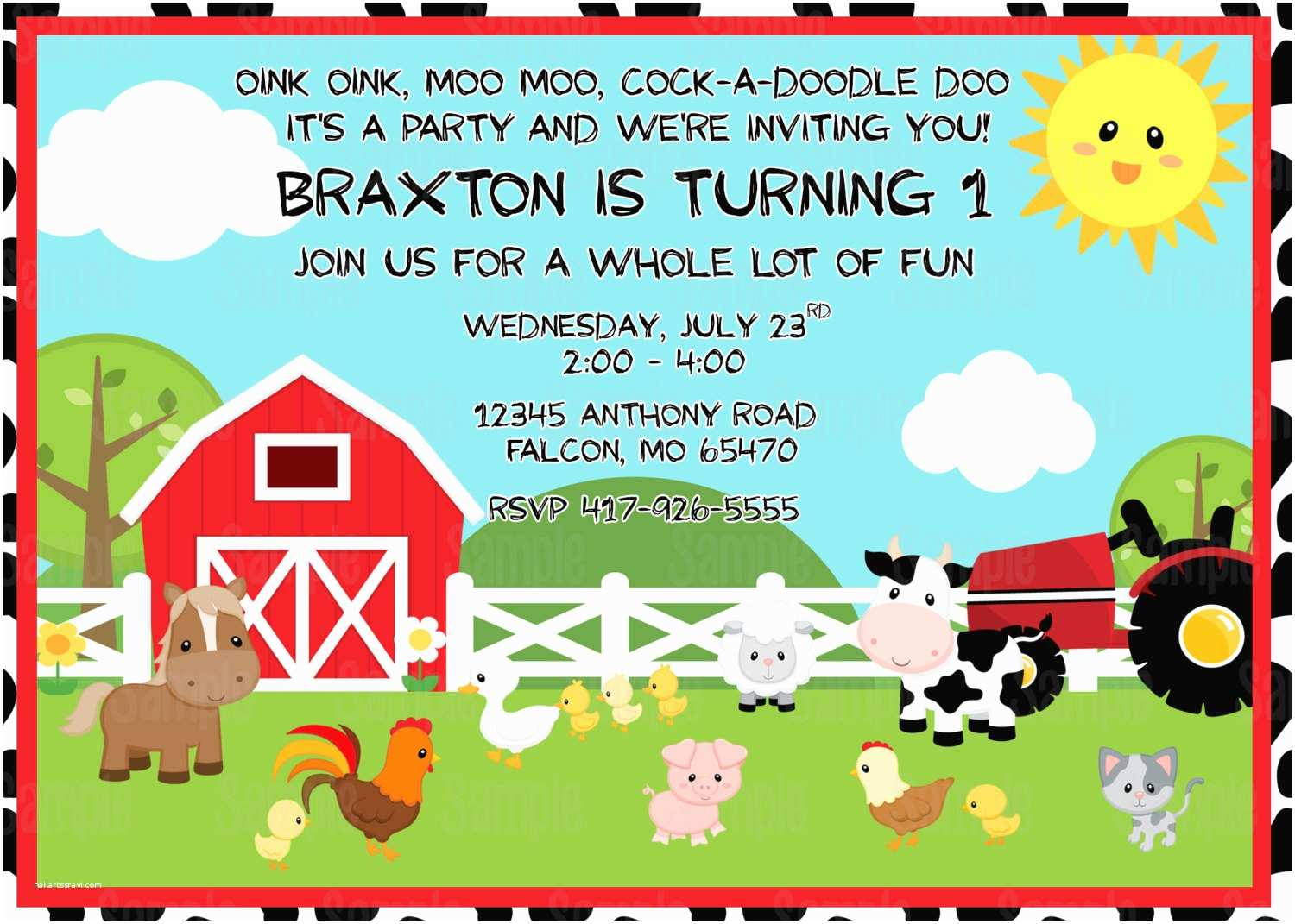 Farm Birthday Invitations Printable Farm Animals Birthday Party Invitation Plus Free