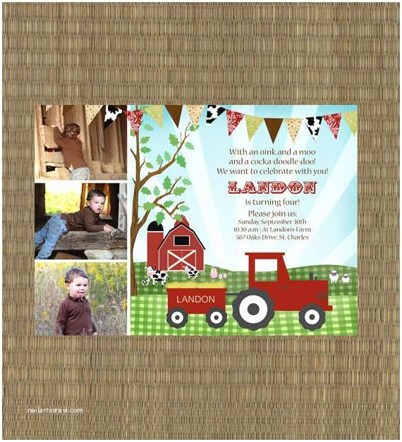 Farm Birthday Invitations Printable Farm Birthday Invitation Kids Barn Invitation