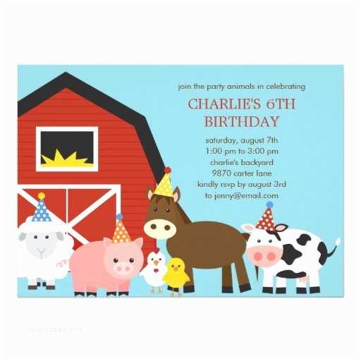 "Farm Birthday Party Invitations Farm Animals Birthday Party Invitation 5"" X 7"" Invitation"