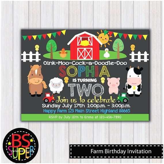 Farm Birthday Party Invitations Farm Birthday Invitation Farm Birthday Party Invitation Farm