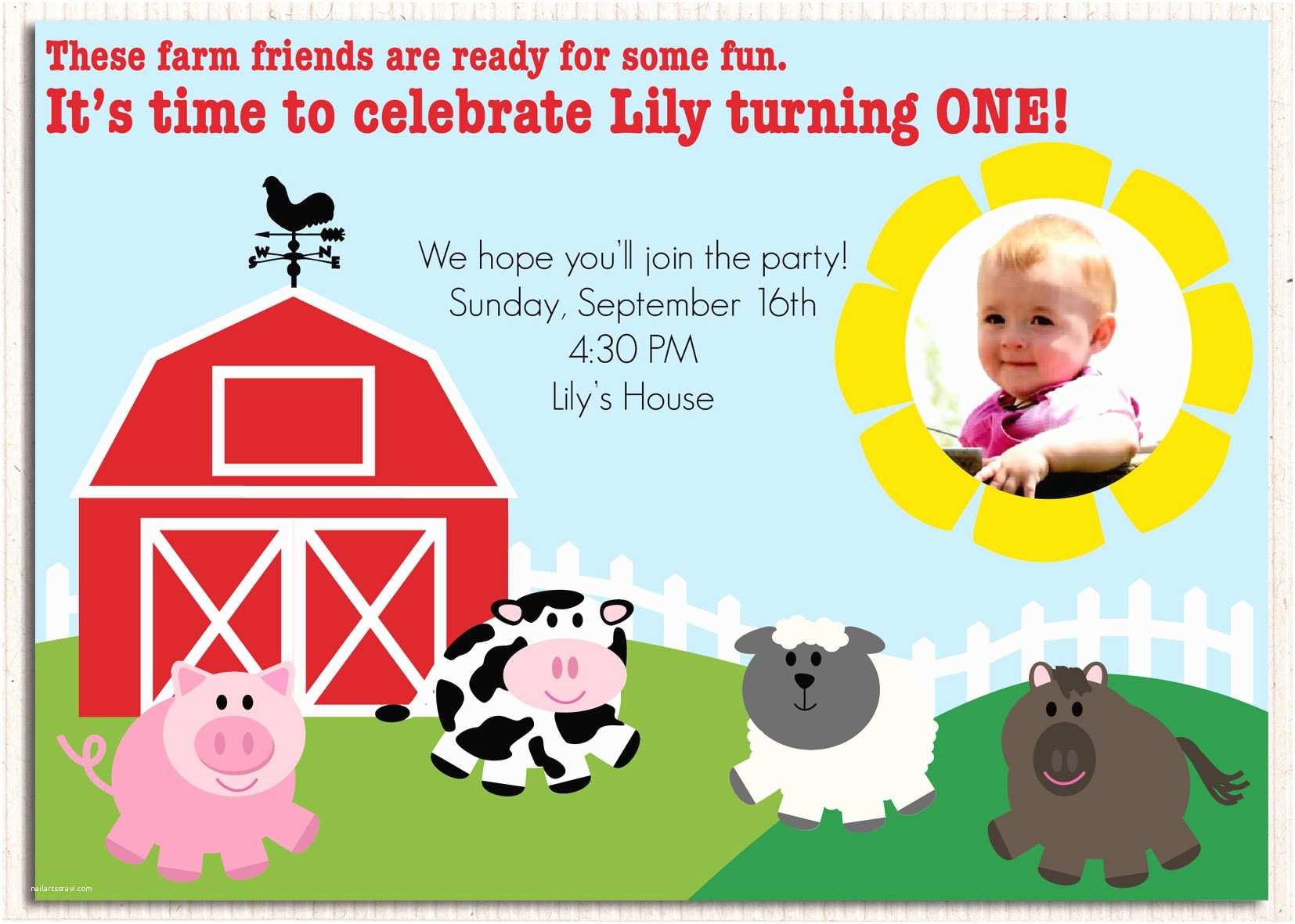 Farm Birthday Party Invitations Farm Birthday Party Invitations