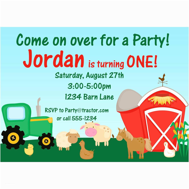 Farm Birthday Party Invitations Farm Invitation Barn Animals Sheep Horse and Cow