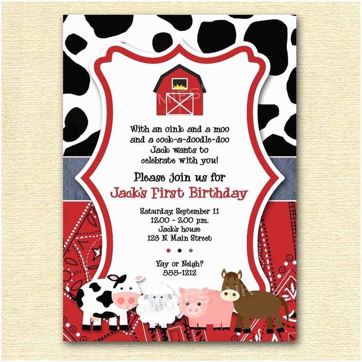 Farm Birthday Party Invitations Farm Invitation Farm Animals Birthday Party Invite Farm
