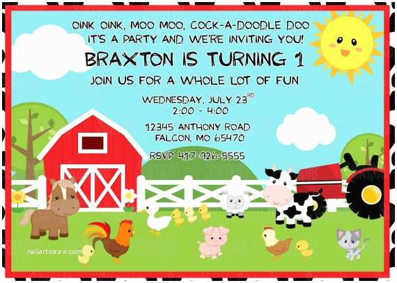 Farm Birthday Party Invitations Printable Farm Animals Birthday Party Invitation Plus Free