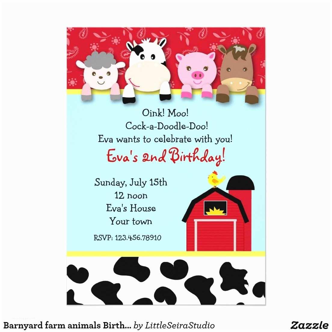 """Farm Party Invitations Barnyard Farm Animals Birthday Party Invitations 5"""" X 7"""