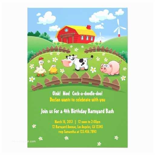 Farm Party Invitations Barnyard Farm Kids Birthday Invitations