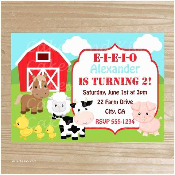Farm Party Invitations Barnyard Invitation Farm Printable by Cakesandkidsdesigns