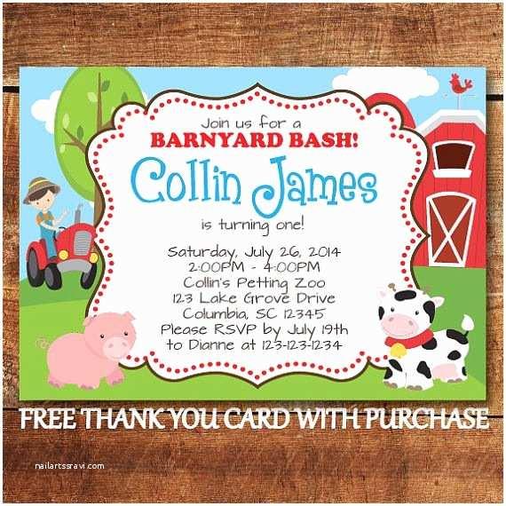 Farm Party Invitations Farm Animal Birthday Invitation Farm First Birthday