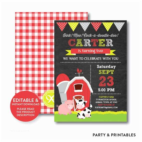 farm barnyard chalkboard birthday party invitation