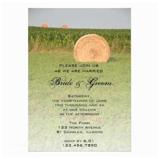 "Farm Wedding Invitations Farm Hay Bales Country Wedding Invitation 5"" X 7"