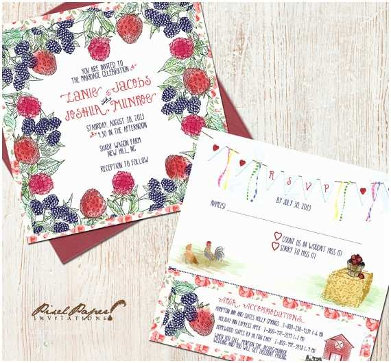 Farm Wedding Invitations Items Similar to Berry Farm Wedding Invitation Suite On Etsy