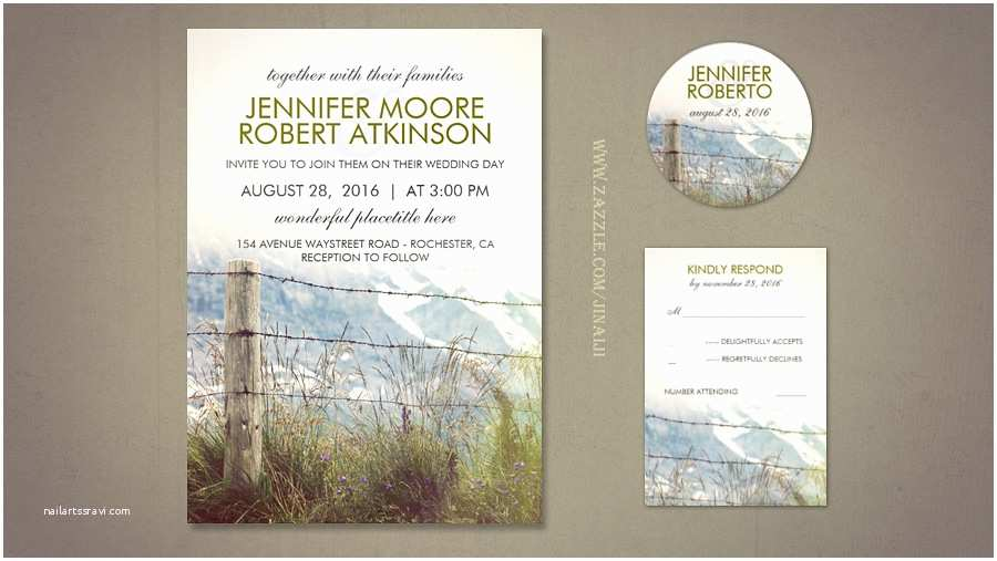 Farm Wedding Invitations Read More – Rural Fence Post Country Wedding Invitations