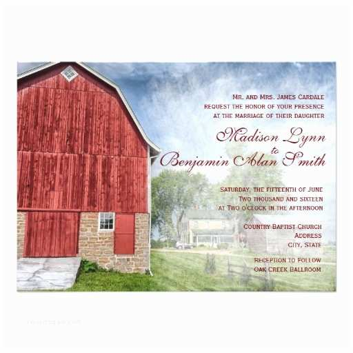 Farm Wedding Invitations Rustic Country Red Barn Farm Wedding Invitations